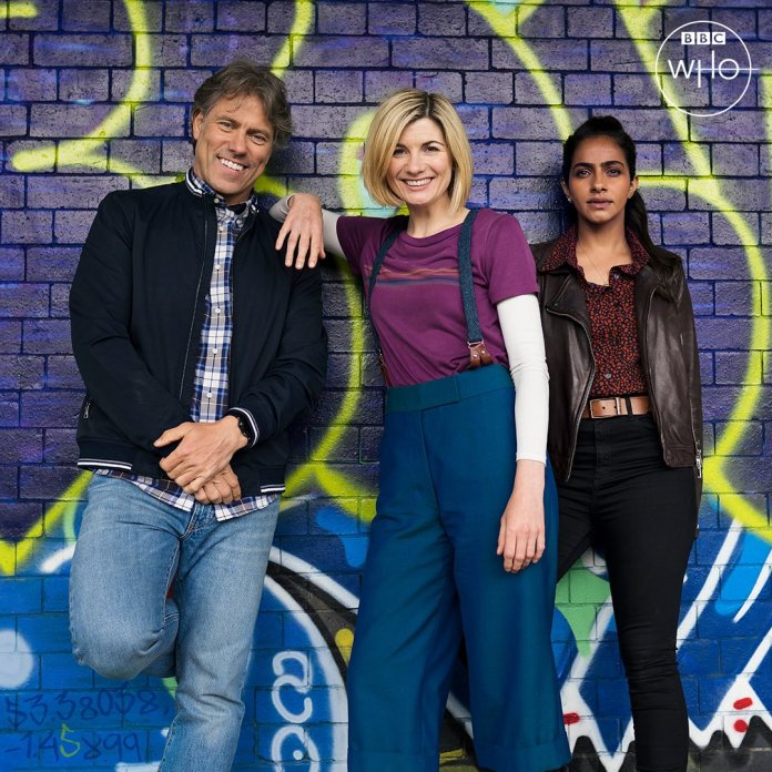 The TARDIS team are ready for action in Series 13 (c) BBC Studios #FindtheDoctor Thirteenth Doctor Yaz Jodie Whittaker Mandip Gill John Bishop