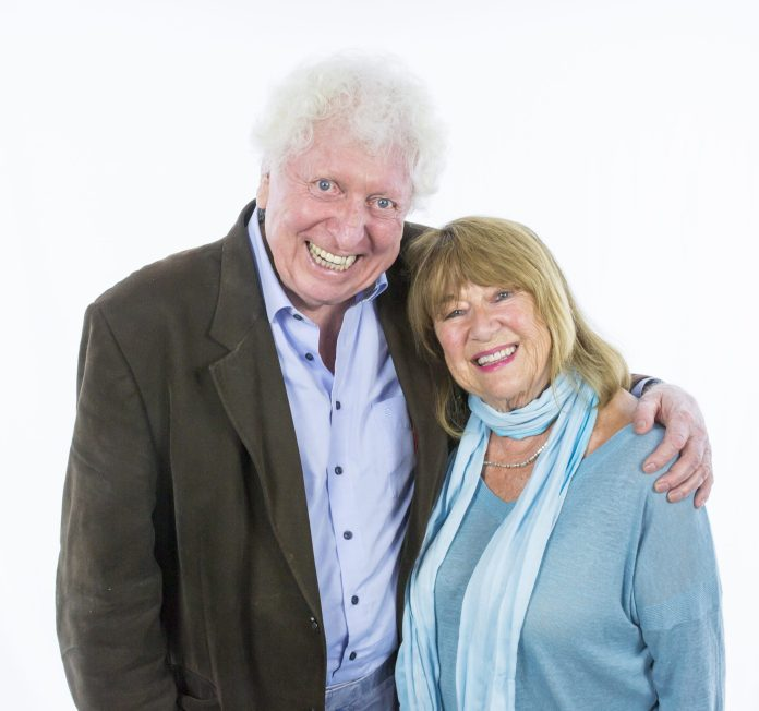 Tom Baker and Nerys Hughes at the recording of Solo (c) Paul Midcalf Big Finish Productions Doctor Who Fourth Doctor Fourth Doctor Adventures Series 11 Solo
