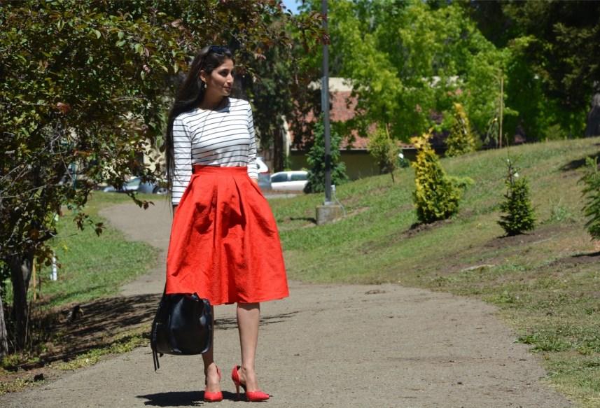 Red mid skirt