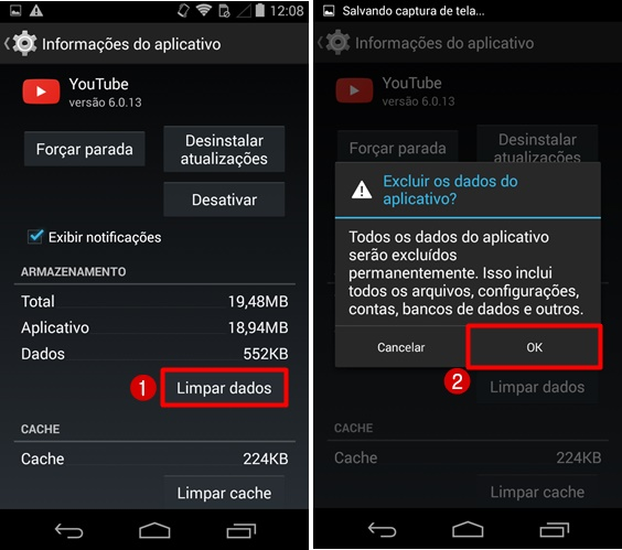 Limpar dados app YouTube