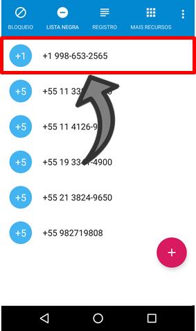 Chamadas desconhecidos celular android