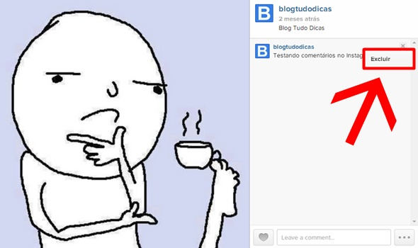 como excluir comentarios do instagram no pc