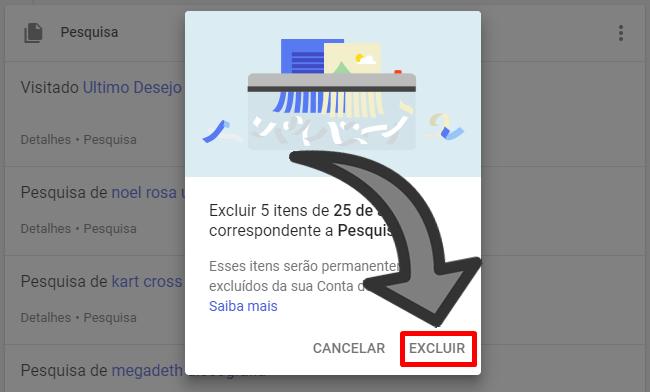 Deletar pesquisar no Google
