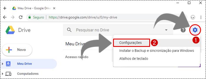 como deixar meu google drive em portugues
