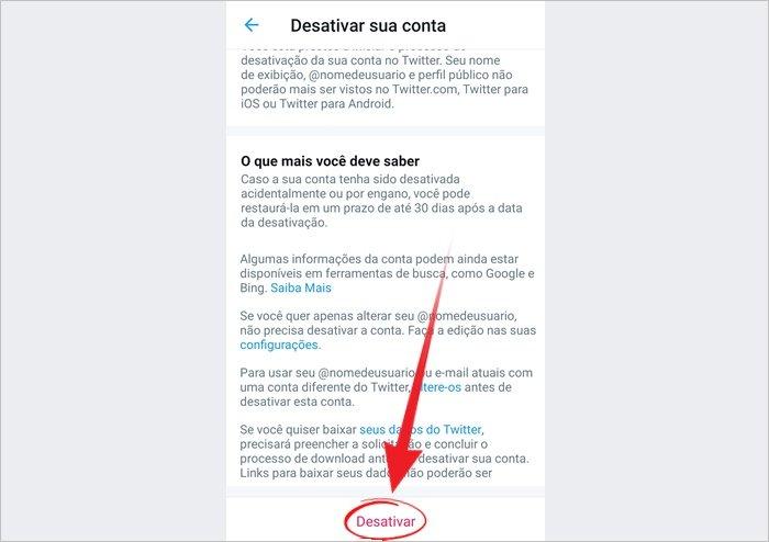 Como deletar o Twitter Android
