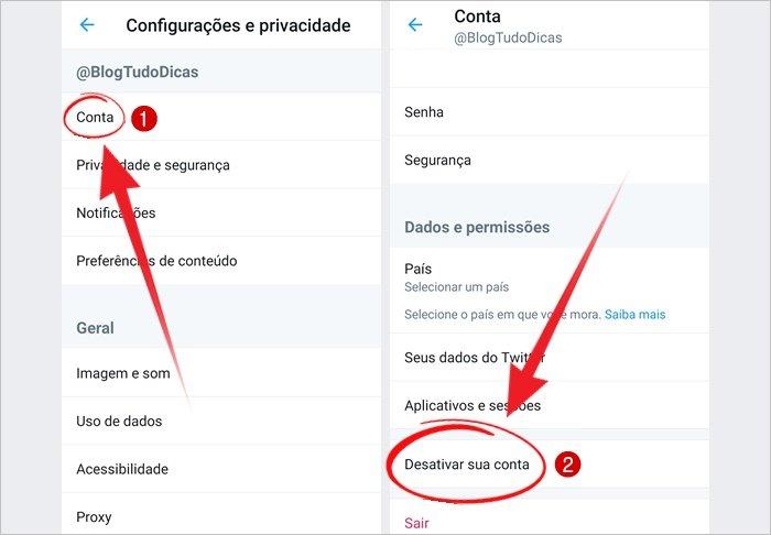 Como desativar conta do Twitter no celular