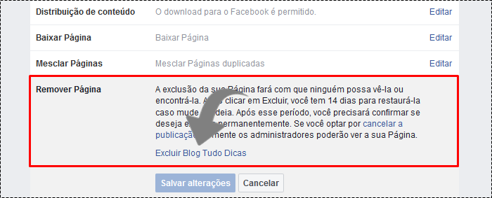 como excluir uma pagina do facebook