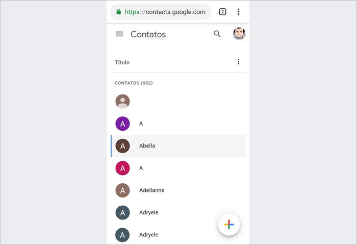 Como ver Contacts Google