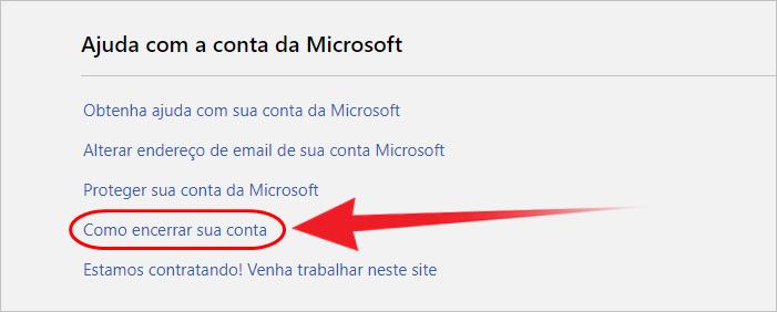 Deletar conta Outlook link