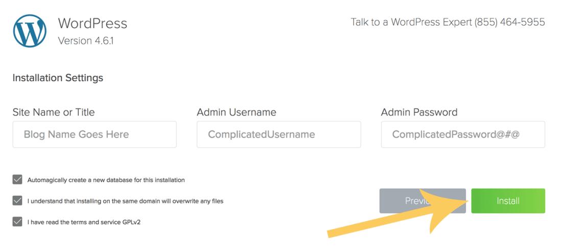 install wordpress on host
