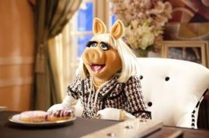 Miss Piggy in a Pink Chanel Suit