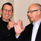Leonard Nimoy Helps Carl Kasell Give The Vulcan Salute