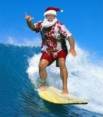 Mele Kalikimaka Santa Surfing