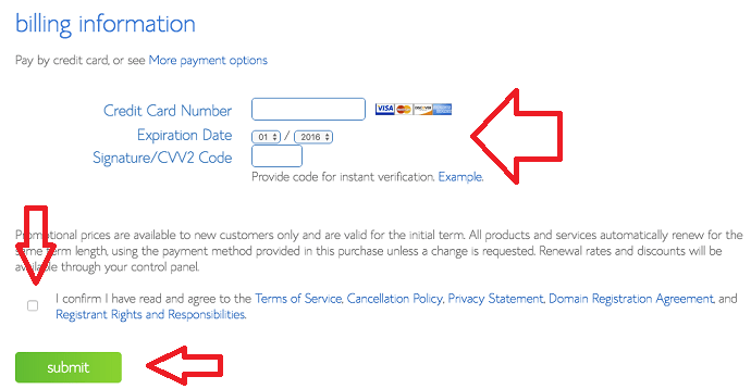 billing information on bluehost