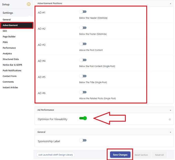 AMP for WP Advertisement settings