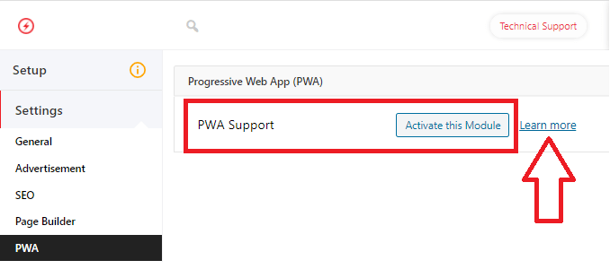AMP for WP PWA settings