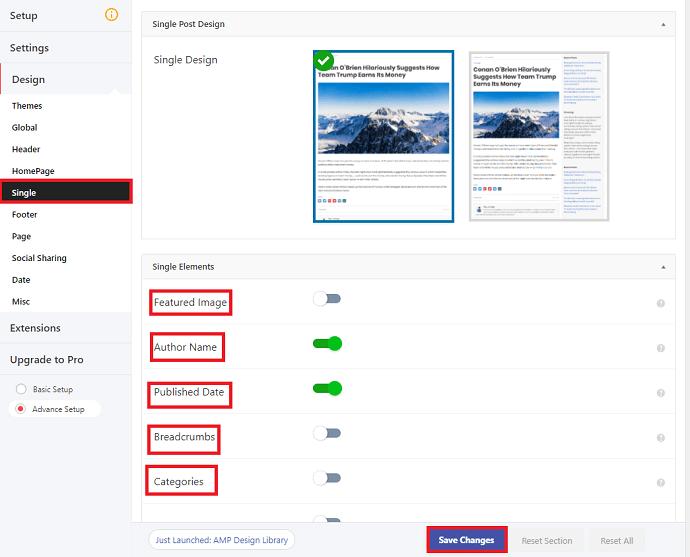 AMP for WP Post design settings