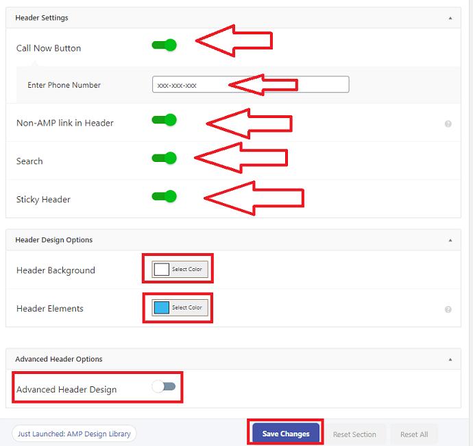 AMP for WP header settings
