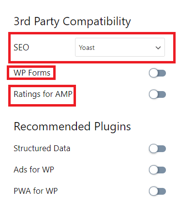 Configure third party plugin settings with AMP