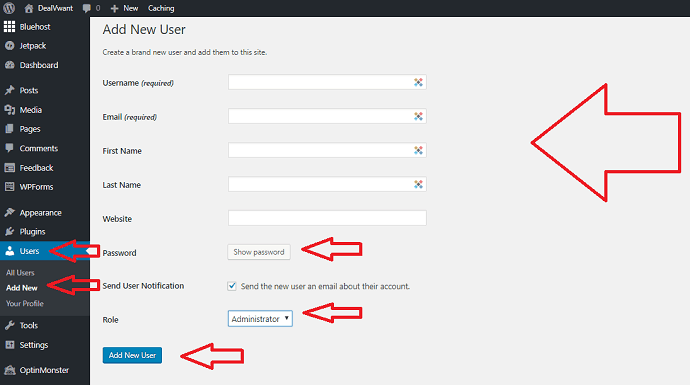 create a new user in wordpress bluehost