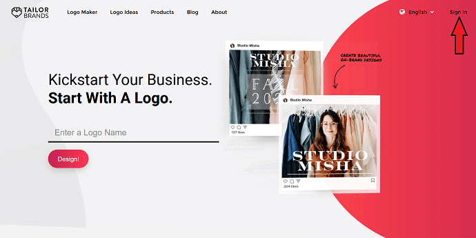 Signup to Tailor Brands