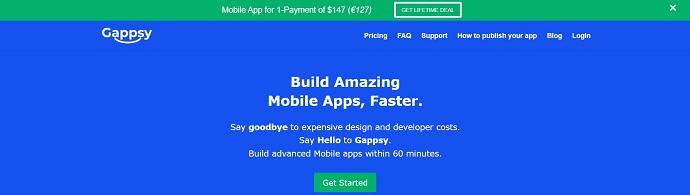 Gappsy app bulider homepage