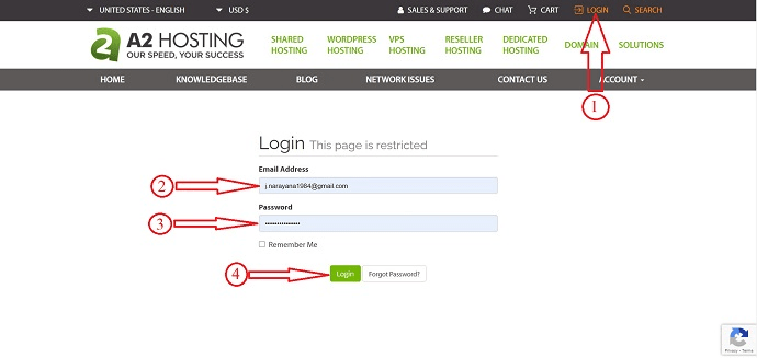 A2Hosting Login page