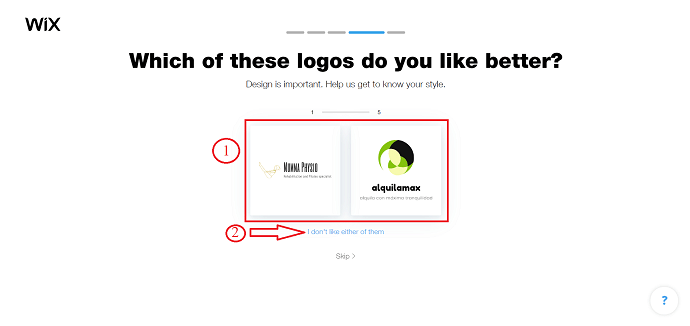 Choose a logo type in Wix