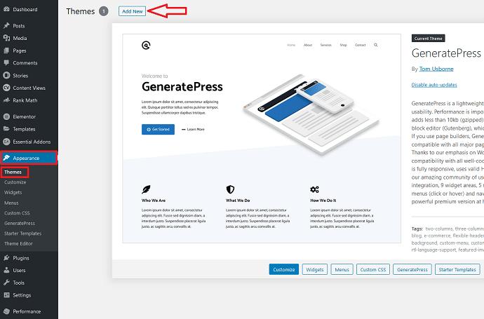Step 1 Install a GeneratePress Child Theme