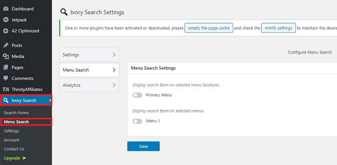Step 2 Open Menu Search settings