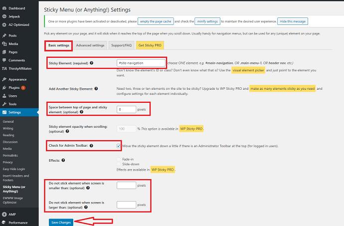 Step 4 Configure WP Sticky Plugin Basic Settings