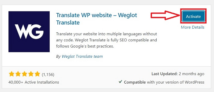 Activating weglot plugin