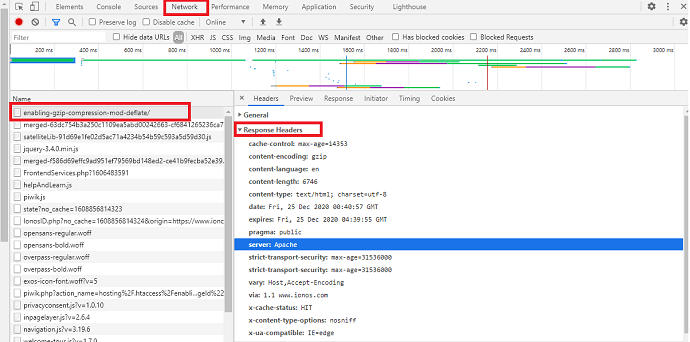 How to find the server type the website is running on - using google chrome inspect element