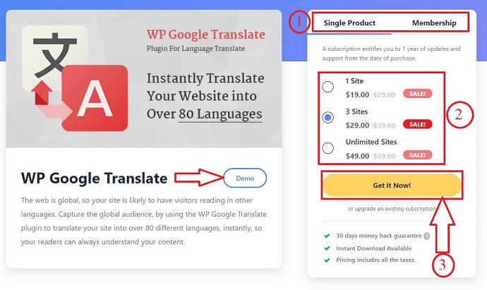 choose a plan in WP google translate