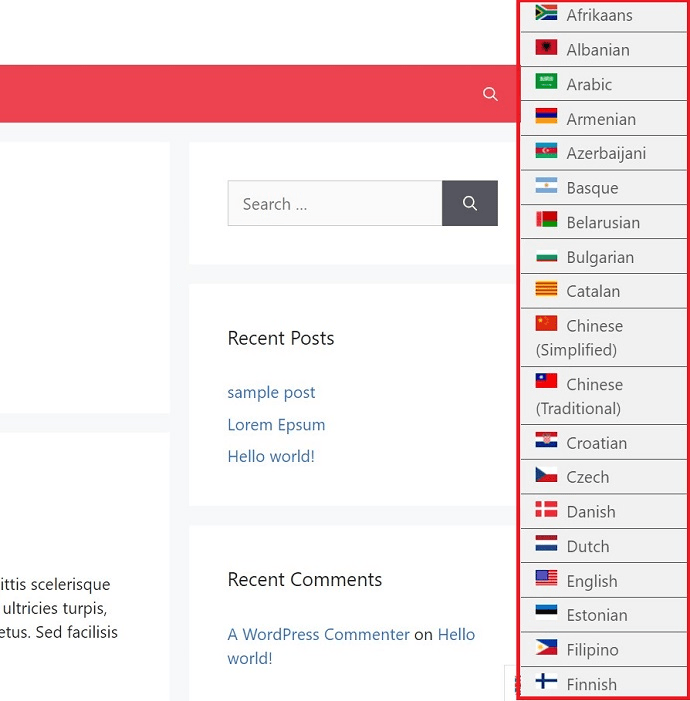 language list of WP Google translate plugin