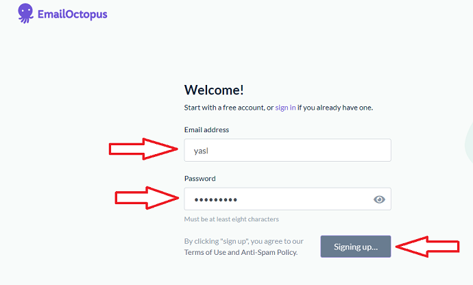 Step 2 Login or Signup to EmailOctopus