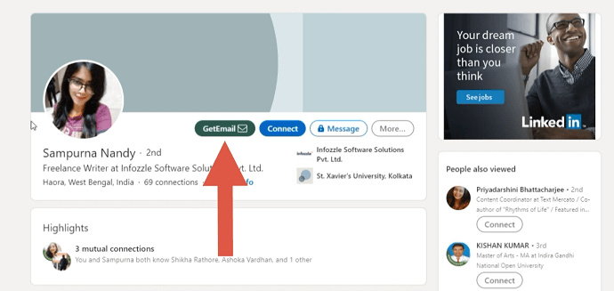 Step 2 Navigate to the LinkedIn profile for which you want to find an email address