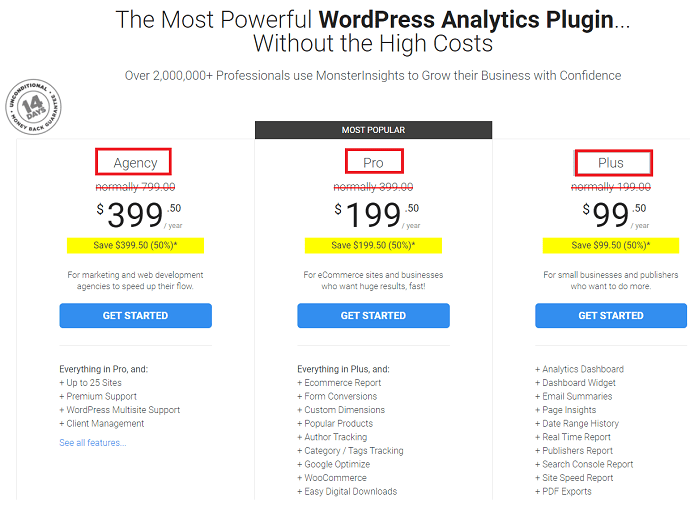 Step 1: Purchase MonsterInsights Plugin or Go for the free version