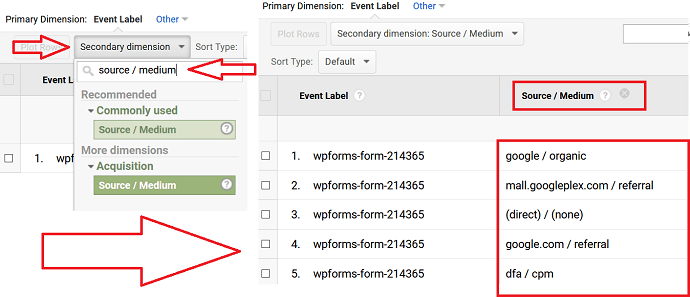 Step 4 Use Secondary dimension feature to Find Sources