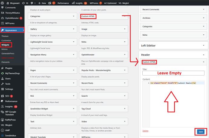 Step 1 Add Custom HTML widget to the Header Widget for adding a Button
