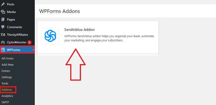 Step 2 Install the WPForms Sendinblue Addon