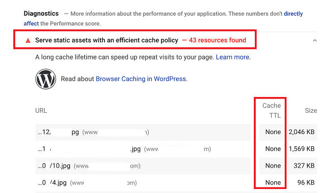 Google Page Speed Recommends to Enable Caching for improving the LCP Core web vital
