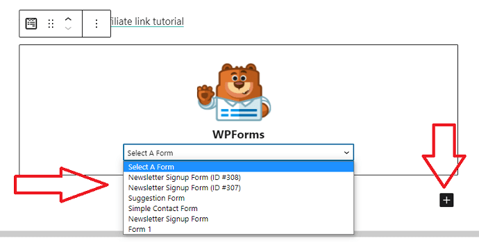 Step 12 Add Mailchimp and WPForms Integrated Signup Form to the WordPress