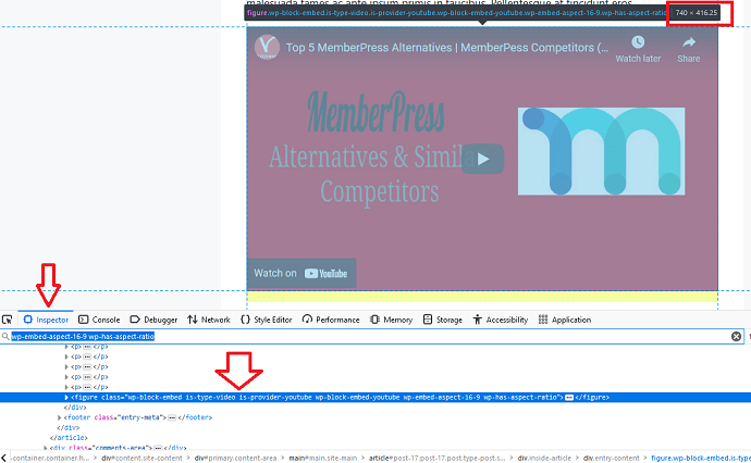 determining the space required for the embed to load with inspect element tool - fixing CLS issue