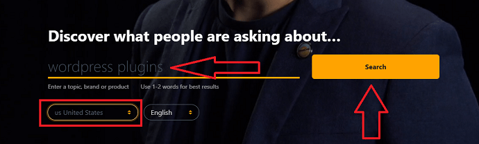open up the answerthepublic website on your browser and enter the topic name in the search bar