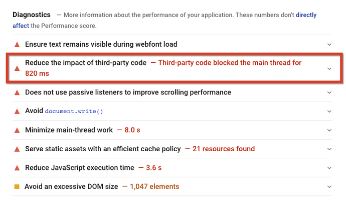 reduce the impact of third party code - FID error