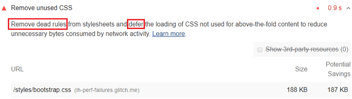 Solutions suggested by Google PageSpeed tool to remove unused CSS from a webpage