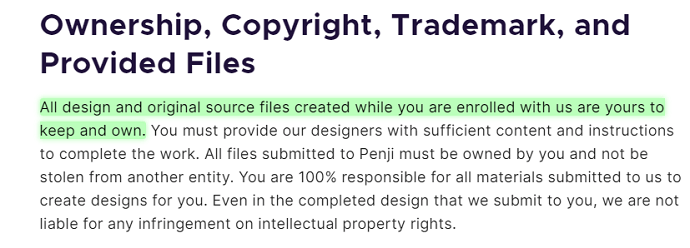 details about ownership of designs produced from Penji