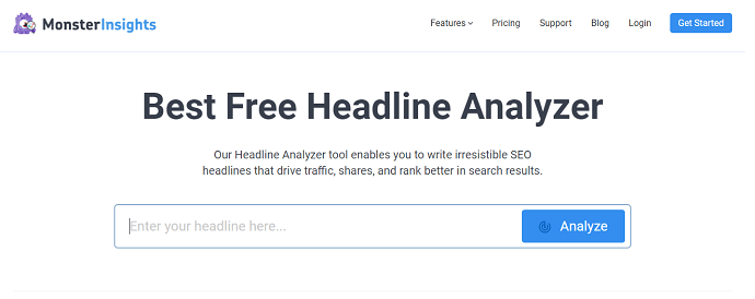 MonsterInsights best free headline analyzer