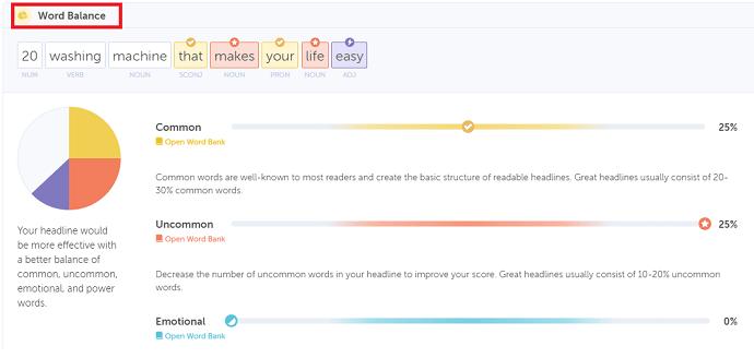 coschedule headline analyzer - word balance report
